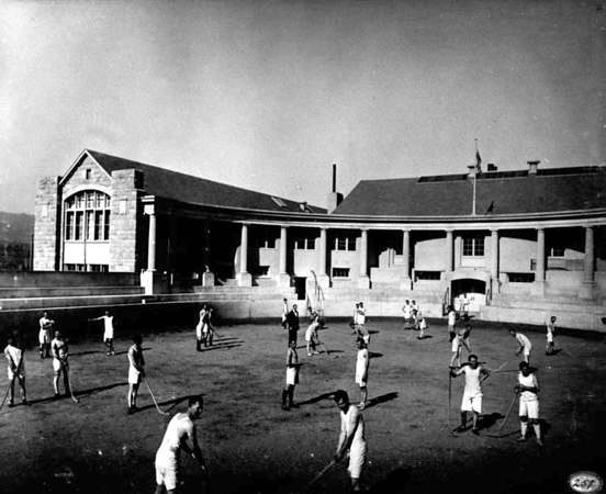 Physical Education class in the Cossitt Bowl circa 1920