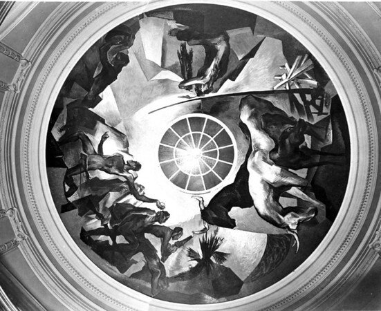 Rotunda ceiling mural painted 1948 by artist Eric Bransby