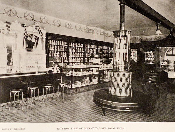 Interior view of Henry Tamm's drug store, 1901