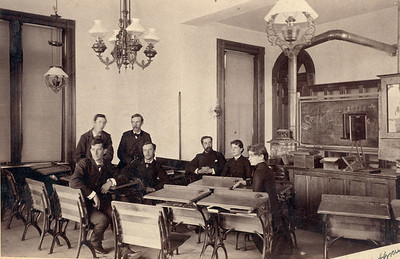 Professor William Strieby, third from right, and 1884 chemistry class
